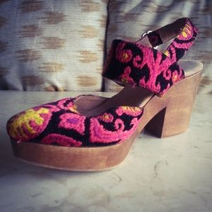 Free People Gold and Dark Pink Embroidered Heels